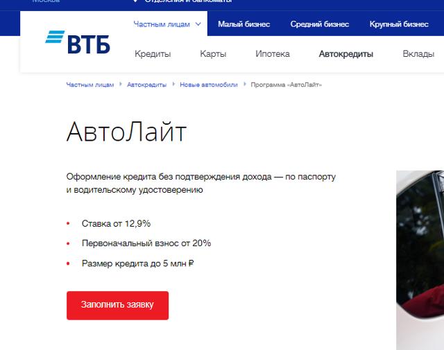 Кредит под залог ПТС в банке ВТБ 24: условия
